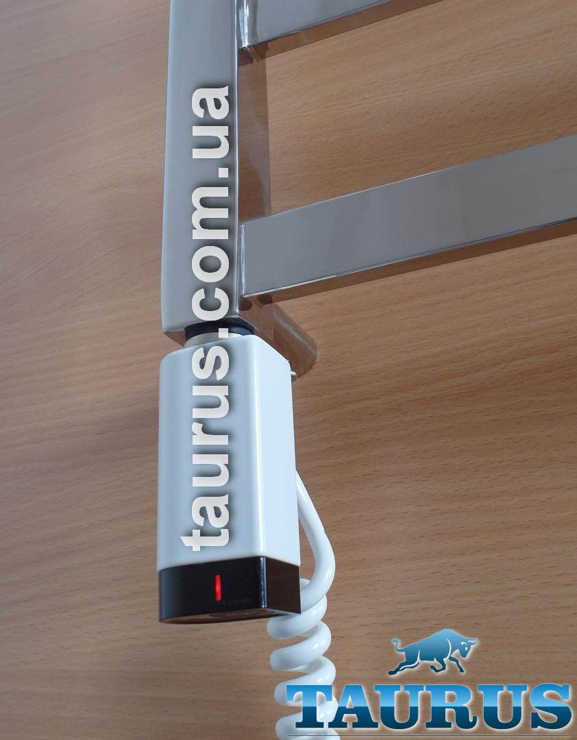 Белый стальной ТЭН для полотенцесушителя TERMA One D-профиль 30х40: регулятор 2 режима +таймер 2ч., под пульт
