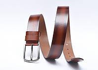 Мужской кожаный ремень (под джинсы и брюки, коричневый стонированнием покраям)