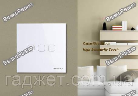 Сенсорный выключатель Sesoo. Трехлинейный сенсорный выключатель Sesoo белого цвета., фото 2