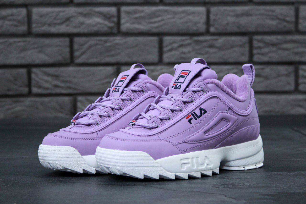 671a2bfa Женские кроссовки в стиле Fila Disruptor 2 White/Purple Фиолетовые -  Интернет-магазин