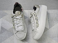 Кроссовки (кеды) женские бело-серебристые с жемчужинами и камнями 39 размер