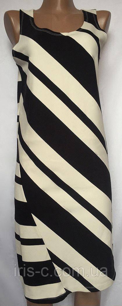Платье летнее, трикотажное, черно - белая полоска, размер S