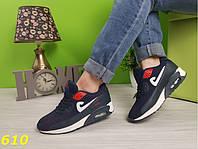 Кроссовки аирмаксы темно-синие с красными вставками, фото 1