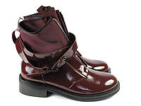 Женские лаковые бордовые ботинки Fabio Monelli, фото 1