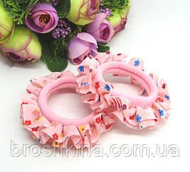 Бесшовная резинка для волос в цветочек розовая
