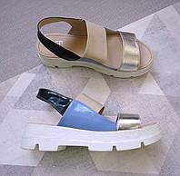 Сандалии (босоножки) из натуральной кожи с резинкой серебрый беж 39 размер 50975a45a63fa