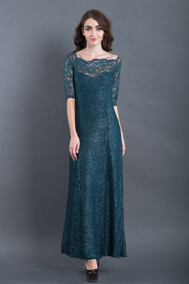 Красивое вечернее длинное платье травяного цвета из гипюра 7229 ... b2f663e0d31