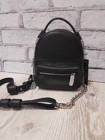 """Рюкзак-сумка""""Мини"""" натуральная кожа,черный флотар"""
