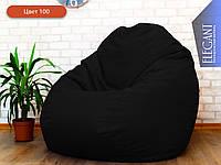 Кресло мешок, кресло Груша, бескаркасный пуф Квадро Оксфорд, бескаркасная мебель Loft черный 100, ХХЛ 125*105