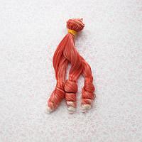 Волосы для Кукол Трессы Кудри на Концах Омбре КРАСНЫЕ С БЕЛЫМ 15 см