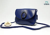 Синяя маленькая сумка через плечо, на плечо кожа PU