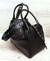 141 Натуральная кожа, объемная сумка-трансформер женская спортивная сумка кожаная дорожная черная сумка черная, фото 2