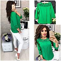 Женская стильная шифоновая блузка с кружевной вставкой, фото 1