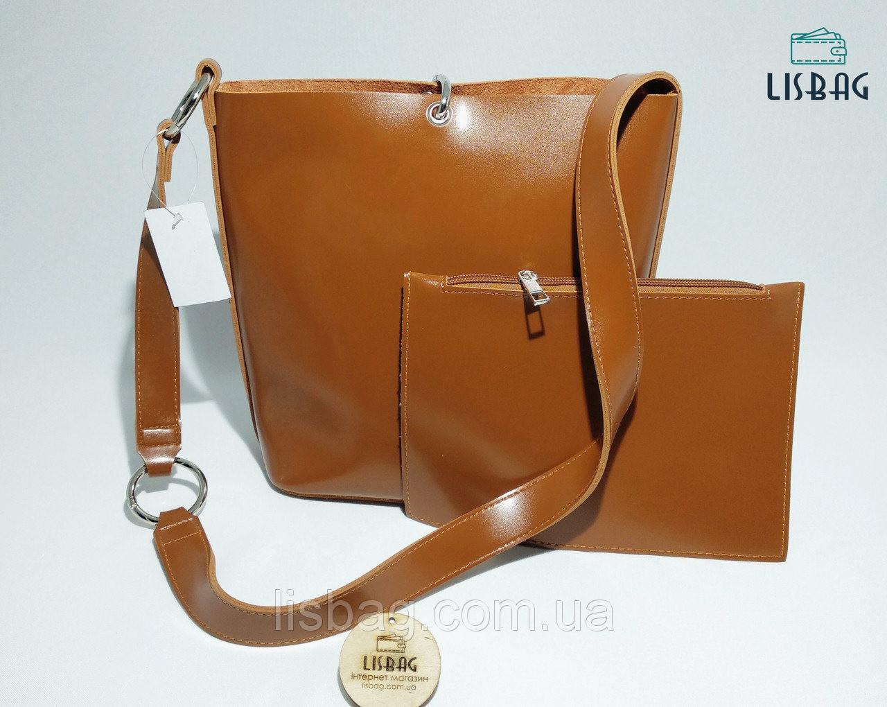 a91e998f13e5 Женская вместительная сумка мешок на плече новинка, гладкая на ощупь  коричневая - Интернет магазин Lisbag