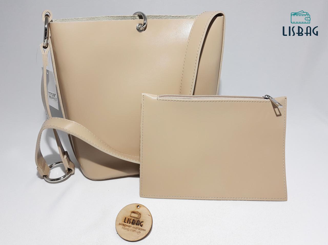f9a7d01c2a69 Женская вместительная сумка мешок на плече новинка, гладкая на ощупь  бежевая - Интернет магазин Lisbag