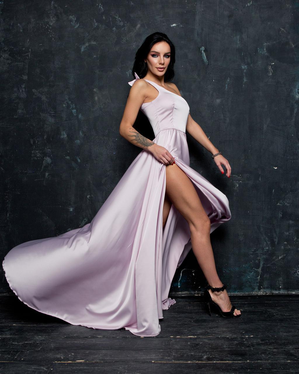 aeabe1a5daf Шелковое платье макси длиной с обной бретелей 14PL1307 - Интернет-магазин  Tvid в Харькове