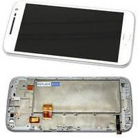 Дисплей (экран) для Motorola XT1620 Moto G4/XT1621/XT1625 + тачскрин, белый, с передней панелью, оригинал