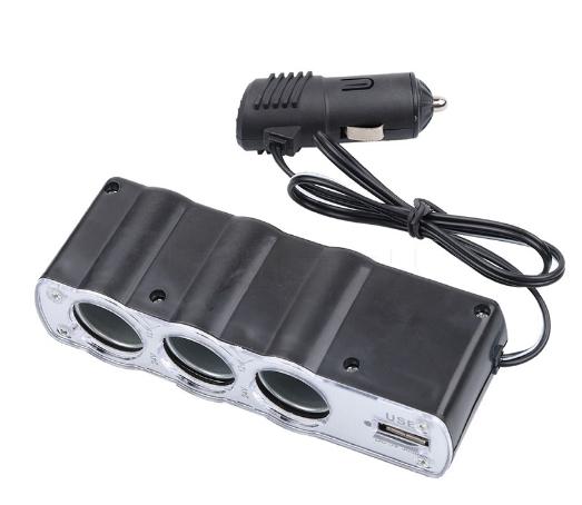 Разветвитель прикуривателя 12/24V 3 гнезда + 1 USB