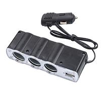 Разветвитель прикуривателя 12/24V 3 гнезда + 1 USB, фото 1
