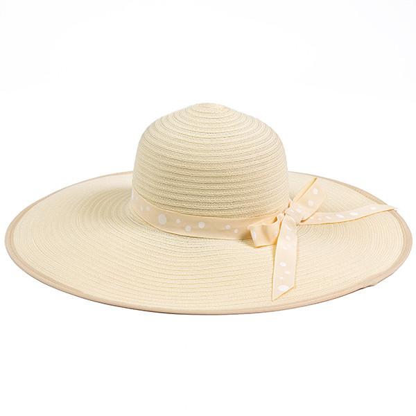 Летняя шляпка с большими полями цвет бежевый