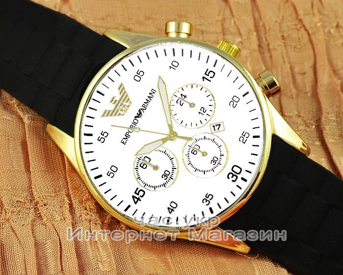 Мужские наручные часы Emporio Armani Quartz Calendar Gold White реплика
