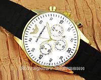 Мужские наручные часы Emporio Armani Quartz Calendar Gold White реплика, фото 1