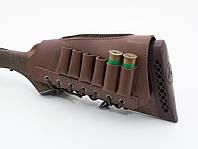 Патронташ на приклад кожа со вставкой левый коричневый 5093/2, фото 1