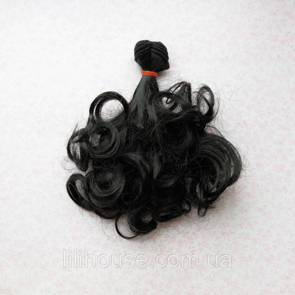 Волосы для Кукол Трессы Локоны на Концах ЧЕРНЫЕ 15 см