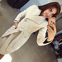 """Женское модное кашемировое  пальто на поясе """"Глянец"""""""
