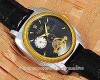 Мужские наручные часы Rolex Datejust Tourbilion Geneve Silver Black реплика механика с автоподзаводом качество
