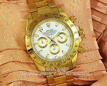 Наручные часы Rolex Daytona Gold White реплика класика для мужчин Ролекс