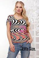 Женская летняя принтованная футболка батал 6BR721, фото 1
