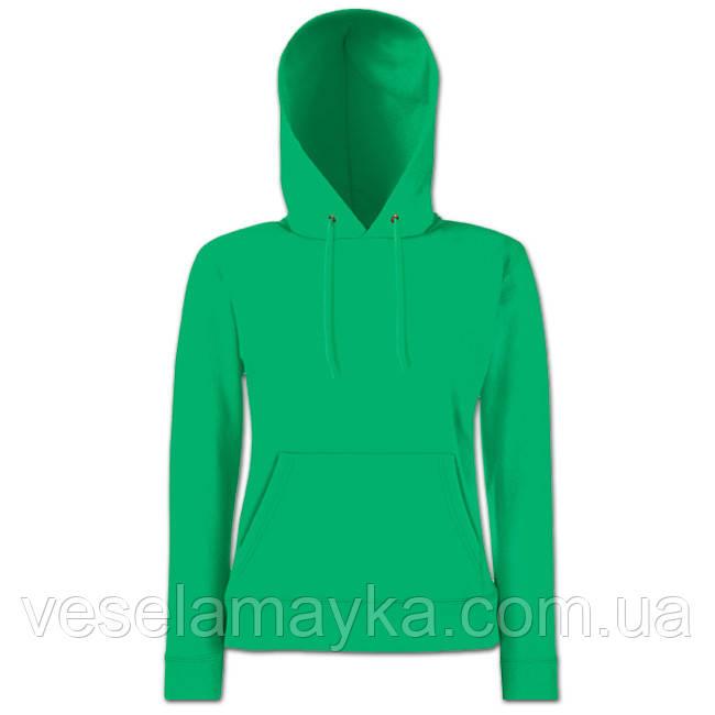 Женская толстовка с капюшоном однотонная. Зеленая