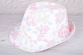 """Шляпа-челентанка женская (подростковая) """"Бабочки с цветами"""" Размер 56-58 см. Розовая. Распродажа! Оптом."""
