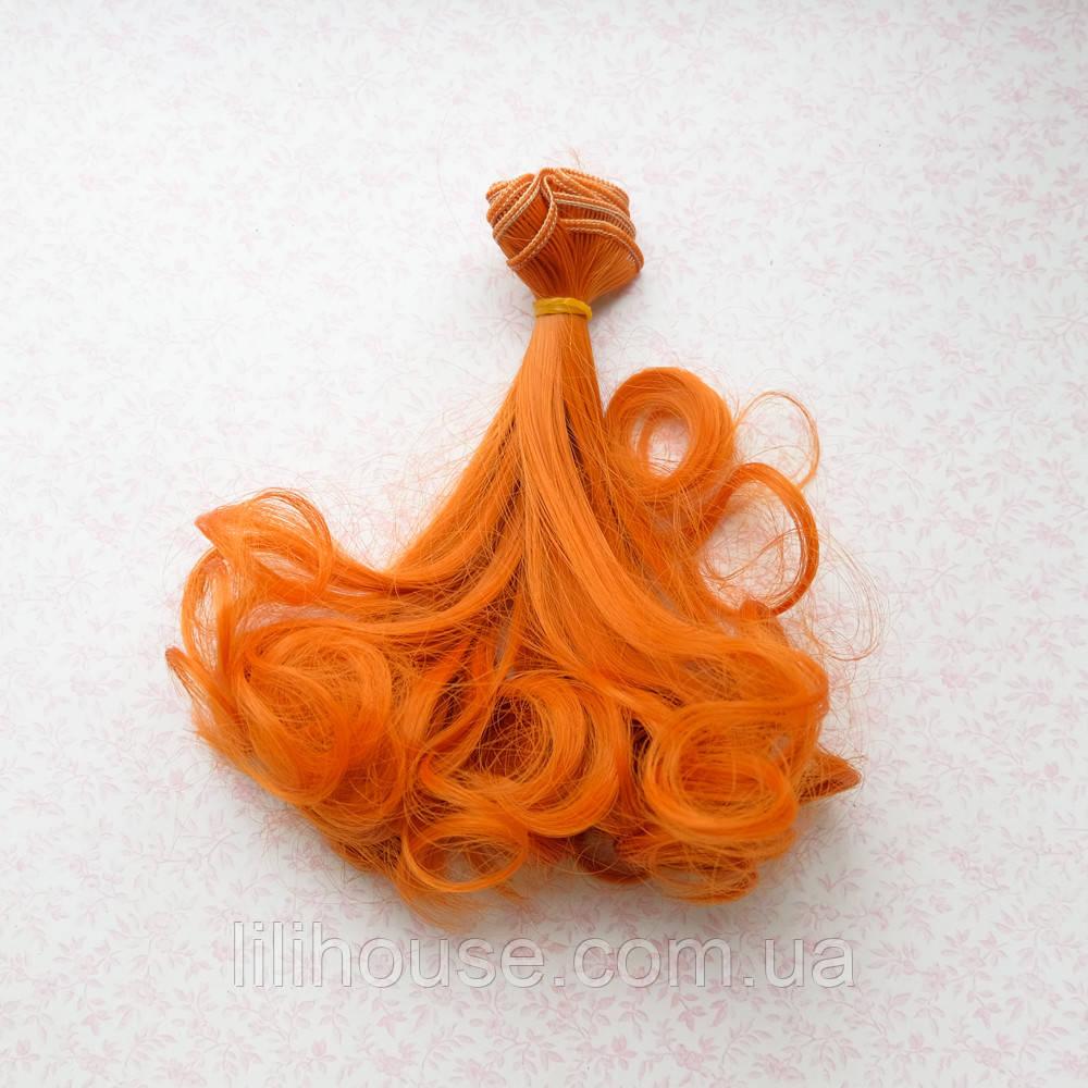 Волосы для кукол волнистые концы в трессах, рыжие  - 15 см