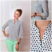 Блуза женская, модель 749, цвет - пудра в сердечко, фото 1