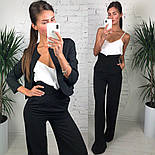 Женский стильный костюм-тройка: жакет, брюки с высокой посадкой, шелковый топ (3 цвета), фото 6