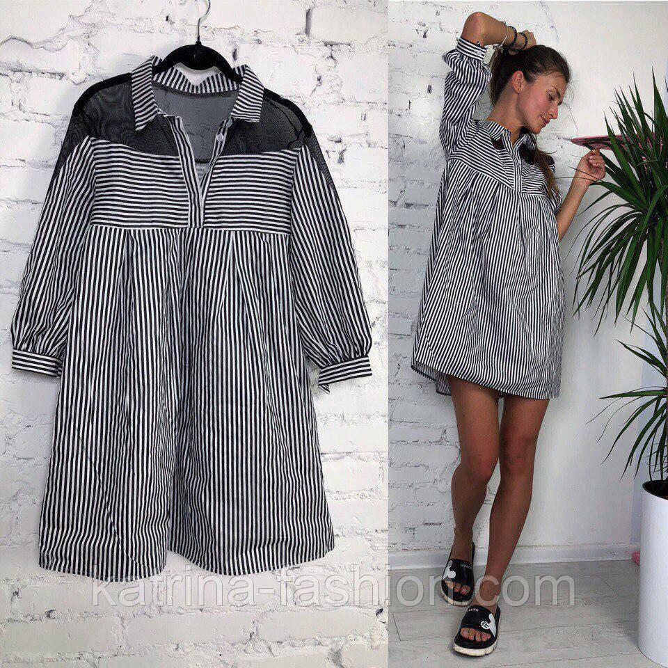 Женское стильное платье хлопок свободного кроя (3 принта)