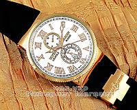 Мужские наручные часы Ulysse Nardin Maxi Marine Chronometer Gold White реплика механика качество