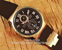 Мужские наручные часы Ulysse Nardin Maxi Marine Chronometer Brown Gold копия реплика механика с автоподзаводом, фото 1