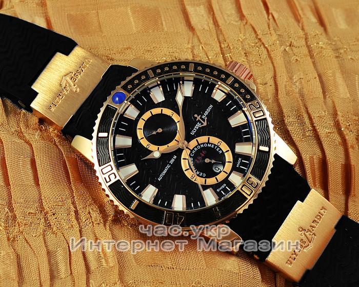 Часы Ulysse Nardin Maxi Marine Diver Chronometer Gold Black реплика механика с автоподзаводом