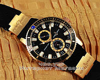 Часы Ulysse Nardin Maxi Marine Diver Chronometer Gold Black реплика механика с автоподзаводом, фото 1