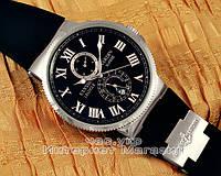 Наручные часы Ulysse Nardin Maxi Marine Chronometer Silver Black реплика, фото 1