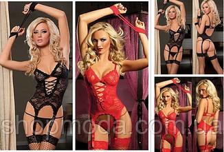 Эротический и сексуальный корсет/боди комплект Госпожа РазмерыSMчерный, фото 2