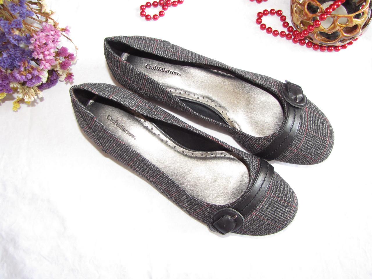 Туфли балетки Croft&Barrows оригинал 38,5 Серый + Черный (08102)