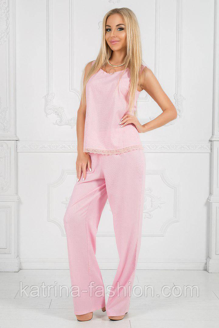 Женский стильный льняной костюм: блуза и брюки