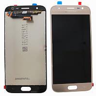 Дисплей (экран) для Samsung J330F Galaxy J3 (2017) + тачскрин, золотистый, оригинал
