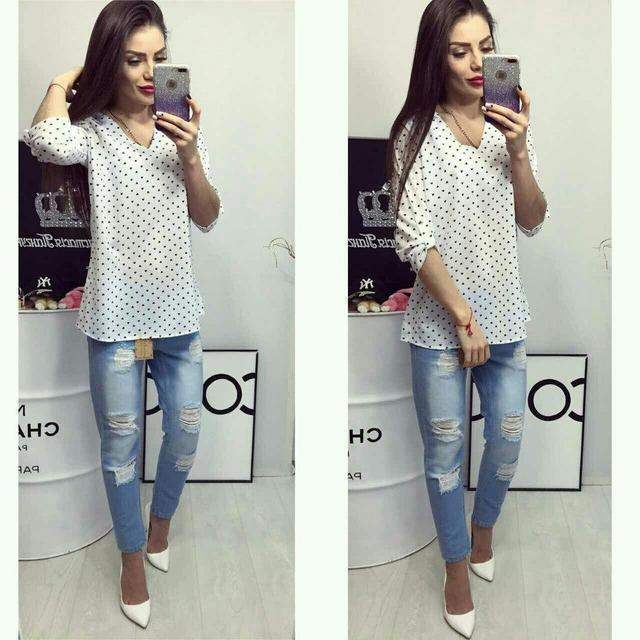 Блуза женская, модель 775, цвет - белый, принт - сердечко