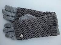 Женские перчатки кашемир + вязка на кролике белые , серые