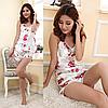 Атласная пижама FLOWER  (48 размер,  размер L )